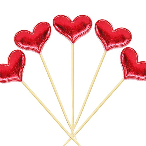 Cupcake Toppers 20Pcs Set Muffin Decoration Red Heart Cupcake Toppers Fun Cake Topper Picks Mini Birthday Cake Decor Shiny Color Sticks for Baby Boys Girls Kids Birthday Party and Wedding Supplies