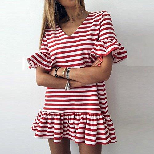 Donne a Fashion Donna Mecohe Elegante Farfalla Vestito a Abito Rosso Righe Corto V Vestiti Ruffles Donna Collo Mini Estate Manicotto Stampa q5PwwI