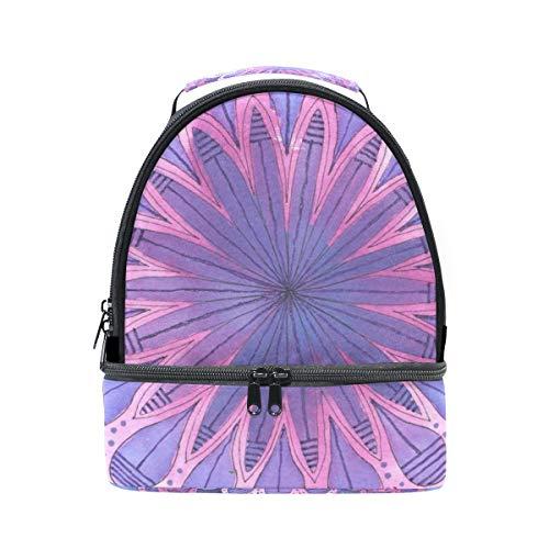 Lunch Box Purple Flower Mandala Womens Insulated Lunch Bag Kids Zipper Lunch Tote