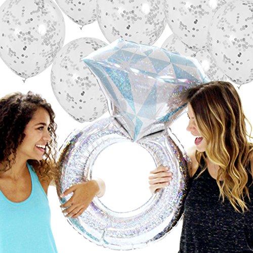 Rhinestonesash Giant Metallic Silver Wedding Ring Balloon and