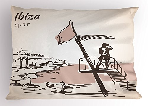 Lunarable Ibiza Pillow Sham, Sketch Lifeguard Watching over the Beach Exotic Holiday South Spain Islands, Decorative Standard Queen Size Printed Pillowcase, 30 X 20 Inches, Brown and Warm Taupe by Lunarable