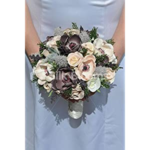 Gorgeous Artificial Brown Rose, Anemone and Thistle Bridal Bouquet w/ Heather 58