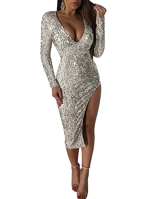 09498a09ab6a Minetom Donna Sexy Paillettes Vestito Elegante Scollo a V Manica Lunga Abito  Cerimonia Cocktail Festa Nozze Club Bodycon Dress Taglia Larga  Amazon.it   ...