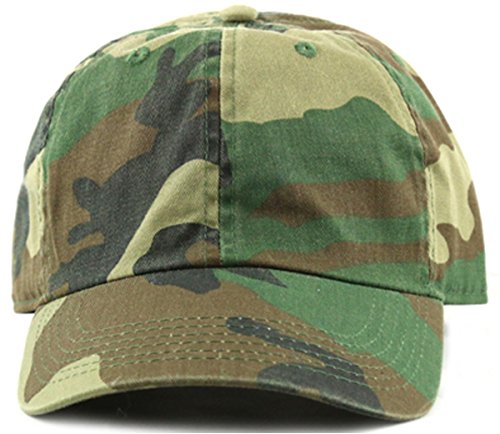 MIRMARU Plain Stonewashed Cotton Adjustable Hat Low Profile Baseball Cap.(Woodland Camo) ()