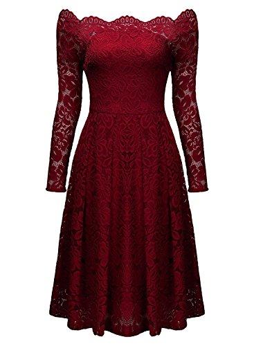 Minetom Mujer Vintage Encaje Vestido de Un Hombro Manga Largo Elegante Vestido de Novia Fiesta Mini Dress Vino rojo