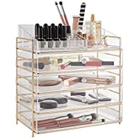 Beautify Acrylic Cosmetic Organiser Case Table Storage Stand with Champagne Frame for Makeup - Clear Vanity Box Holder with 4 Drawers, 12 Lipstick Compartments, 3 Large Open Spaces