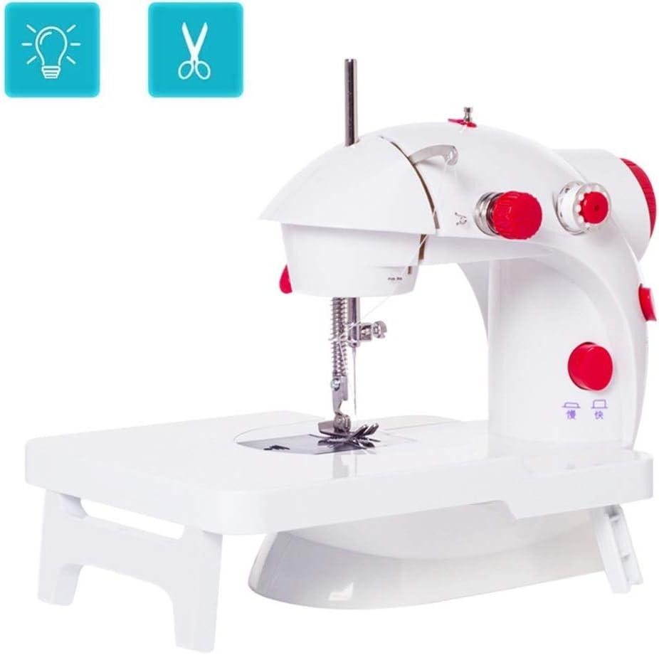 Compacta mini máquina de coser con la tabla de ampliación, 12 puntos de sutura 2 Velocidad eléctrica Elaboración de la reparación de la máquina con el pedal del pie de la tela del recorrido del hogar