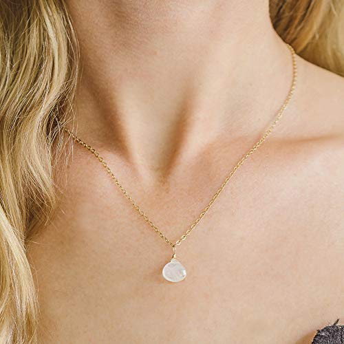 Tiny Rainbow Moonstone Teardrop Necklace in 14k Gold Fill