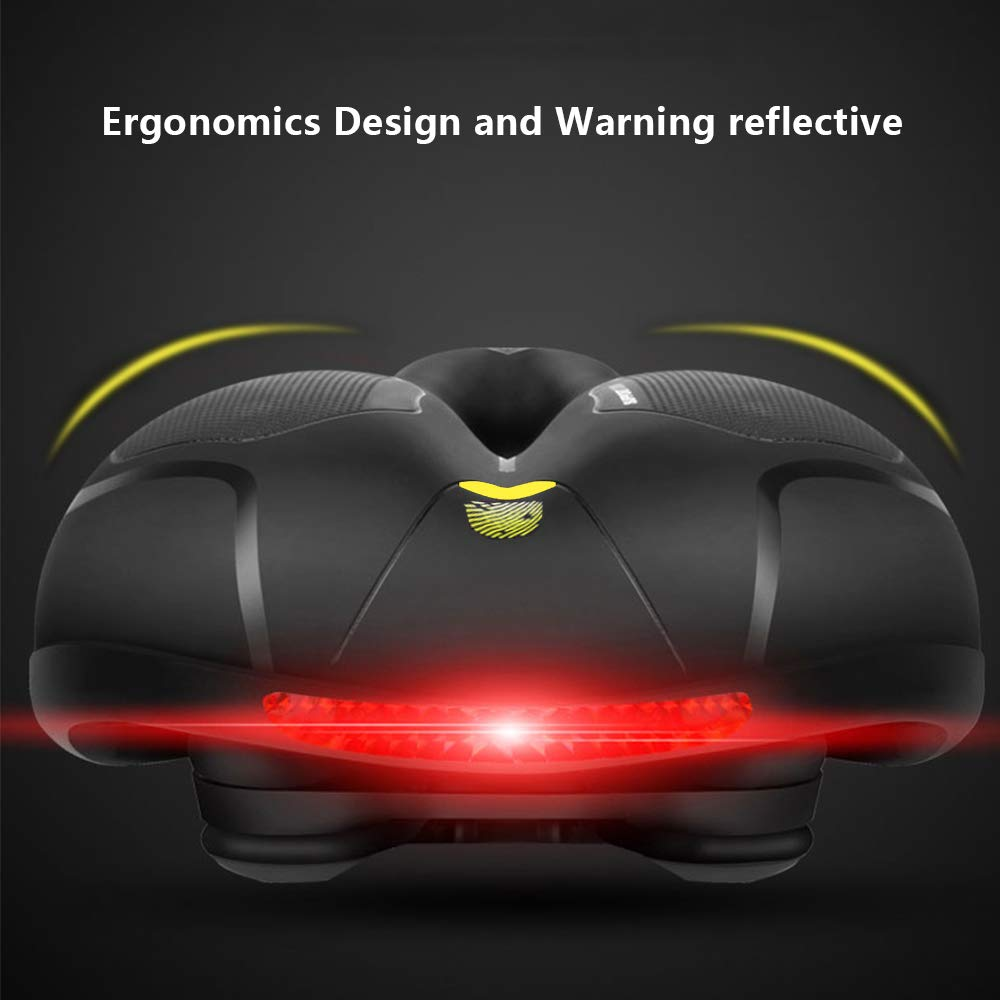 Mountain, Most Comfortable Bike Seat,Bicycle Saddle for Men Women Padded Soft High Density Memory Foam Hollow Breathable Rainproof with Dual Shock Absorbing Rubber Balls and Taillight Fit for Road