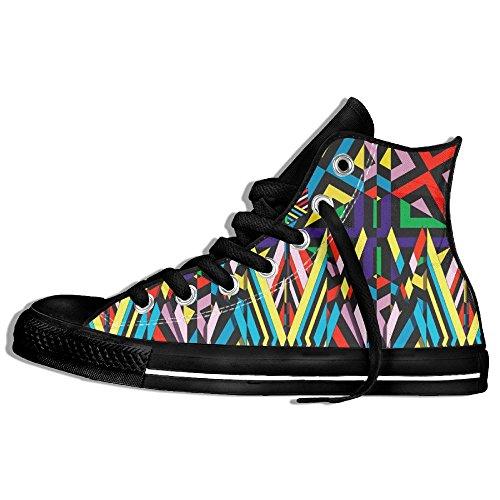 Geometri Hög Topp Klassiska Tygskor Mode Sneaker Svart