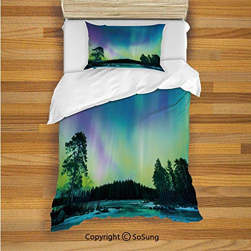 Northern Lights Kids Duvet Cover Set Twin Size, Sky Over Lake Surrounded Forest Woods Hemisphere Print 2 Piece Bedding Set with 1 Pillow Sham,Violet Blue Lime Green - Northern Biscuit