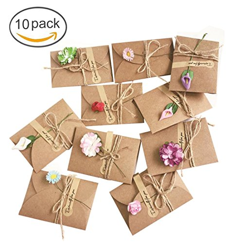 - FineInno Set of 10 Greeting Cards Thank You Cards Retro Kraft Paper Postcard Dried Flowers Gift Card Invitation Wish Card with Thank Sticker Brown Envelopes (Random Style)