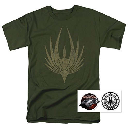 Battlestar Galactica Phoenix Green T Shirt & Exclusive Stickers (Large)