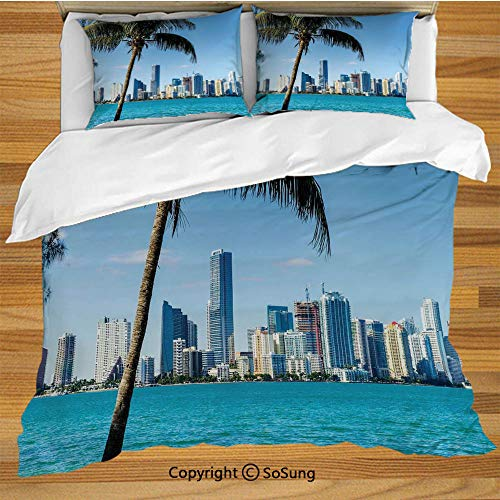 - SoSung Coastal Decor Bed Pillow Case/Shams Set of 2,Miami Downtown with Biscayne Bay Buildings and Palm Tree Panoramic Queen Size Without Insert (2 Pack Pillowcase 20