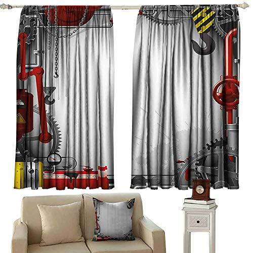 (Industrial Decor Curtains Engineering Themed Gears Levers Pipes and Meters Flue Lifting Crane 70%-80% Light Shading, 2 Panels,55
