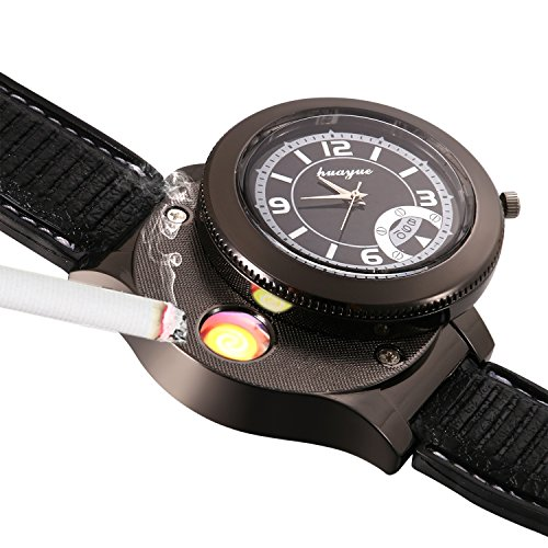 JewelryWe Novelty Quartz Wrist Watch with USB Electronic Rechargeable Windproof Cigarette Lighter for Men (Black Cigarette Money Case)