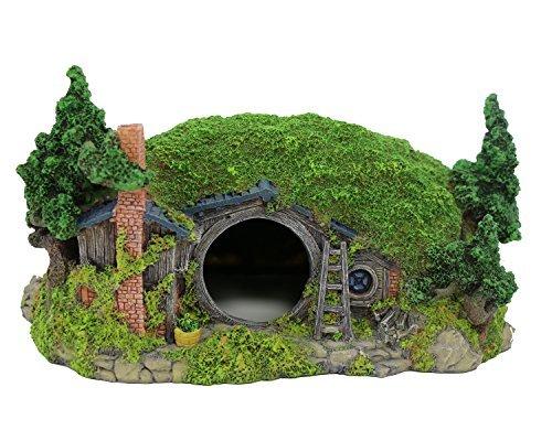 "Coospider Hobbit Miniature Landscape Hillside Fairy Hole house Manor Decor Ideas for Aquariums Reptile Box Shelter Ornament 11' L x 8""W x 6.5' H"