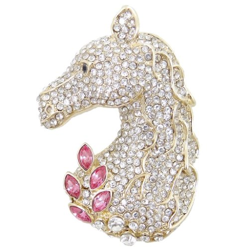 Fancy Hat Pin Pink (EVER FAITH Austrian Crystal Lovely Animal Horse Head Brooch Clear w/Pink Gold-Tone)