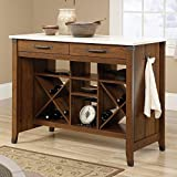 Durable and Attractive Kitchen Storage Cart, 2 Drawers, Open Divided Storage, Cherry Finish