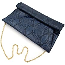 Premium Snakeskin PU Leather Roll Up Flap Clutch Evening Bag - Diff Colors