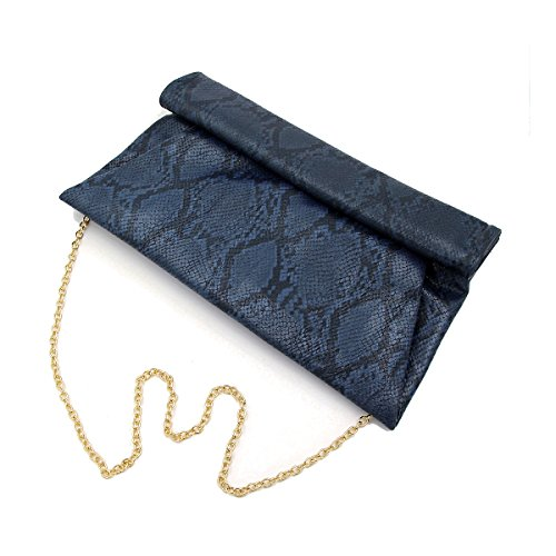 Premium Snakeskin PU Leather Roll Up Flap Clutch Evening Bag, Navy