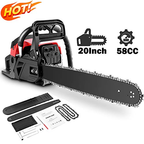 attempting 58CC Gas Engine 20 Inch Guide Board Chainsaw 2 Stroke Gasoline Powered Handheld Chain Saw (with Tool Kit) (Red)