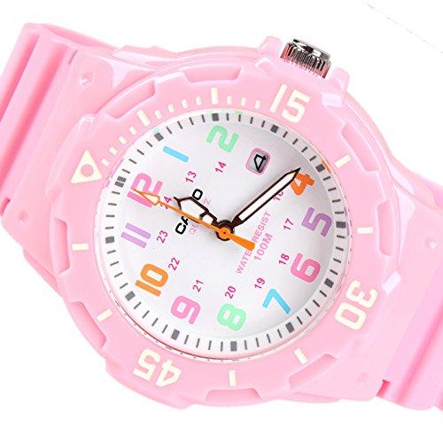 Amazon.com: Casio Womens LRW200H-4B2V Pink Resin Analog Quartz Watch with White Dial: Watches