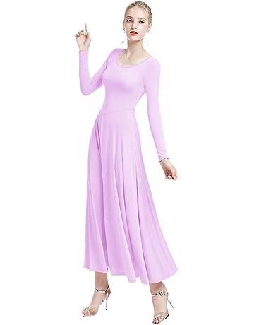 IBTOM CASTLE Womens Liturgical Praise Lyrical Dance Dress Loose Fit Full  Length Long Sleeve Worship Costume a3fc5b8d8