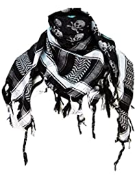 Premium Skull Pattern Shemagh Head Neck Scarf - Black/Grey
