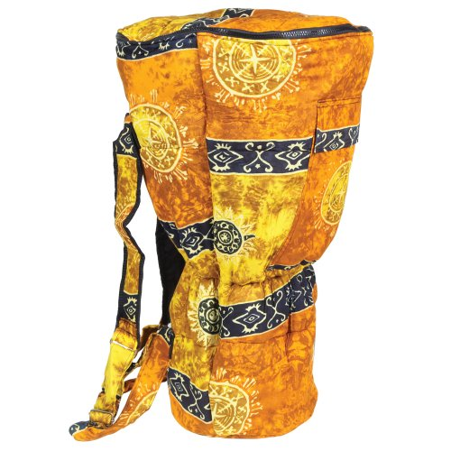 X8 Drums X8-BG-Gold-L Djembe Backpack Bag with Gold Celestial Design, Large (Bag Djembe Drum)