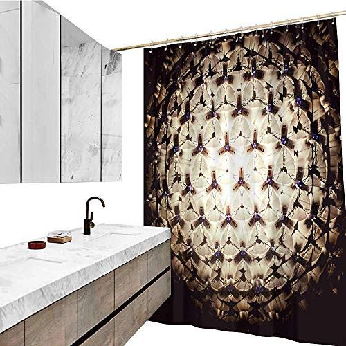 (Waterproof Polyester Bathroom, Kaleidoscope Pattern, W96 xL72, Curtain Liner with 12 Hooks.)