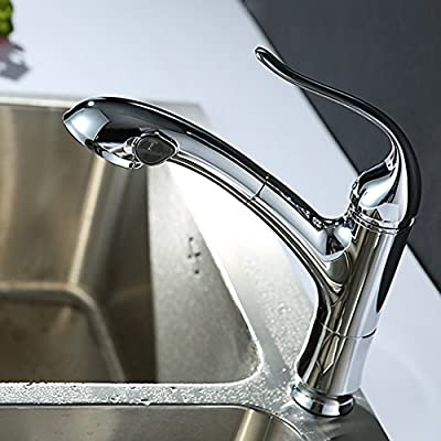 KES Modern Pull Out Kitchen Faucet Single Handle Single Lever Mixer Tap for Bar Prep Sink Polished Chrome, L6901