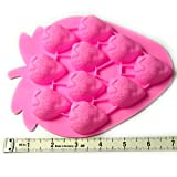 PERNY Mini Strawberry Shapes Silicone Chocolate Dessert Soap Crayon Ice Cake Decoration Mold,Reusable, BPA Free,2 Pack