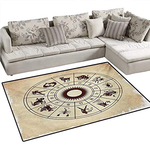 (Zodiac Anti-Static Area Rugs Wheel of Horoscope Icons on The Distressed Backdrop Cosmos Occult Print Artwork Children Kids Nursery Rugs Floor Carpet 55