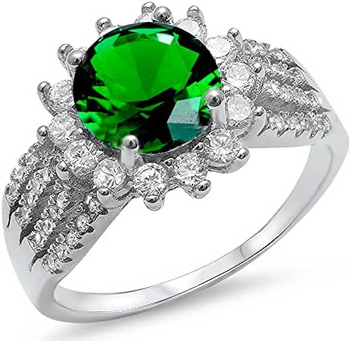 Halo Style Simulated Green Emerald & Cz Fashion .925 Sterling Silver Ring Sizes 5-10