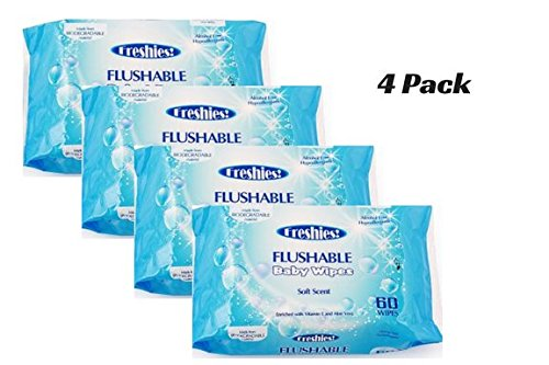 FLUSHABLE WIPES, FOR HOME AND BABY USE, 60 CT. 4 PACK, 240 WIPES TOTAL
