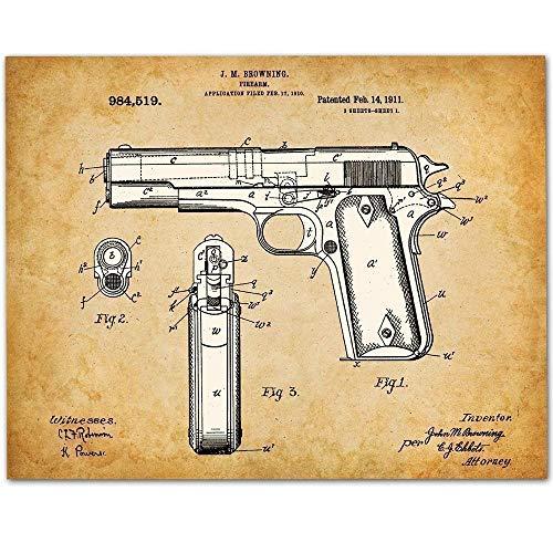 1911 Colt 45 Gun - 11x14 Unframed Pistol Patent Print - Makes a Great Gift Under $15 for Gun Owners