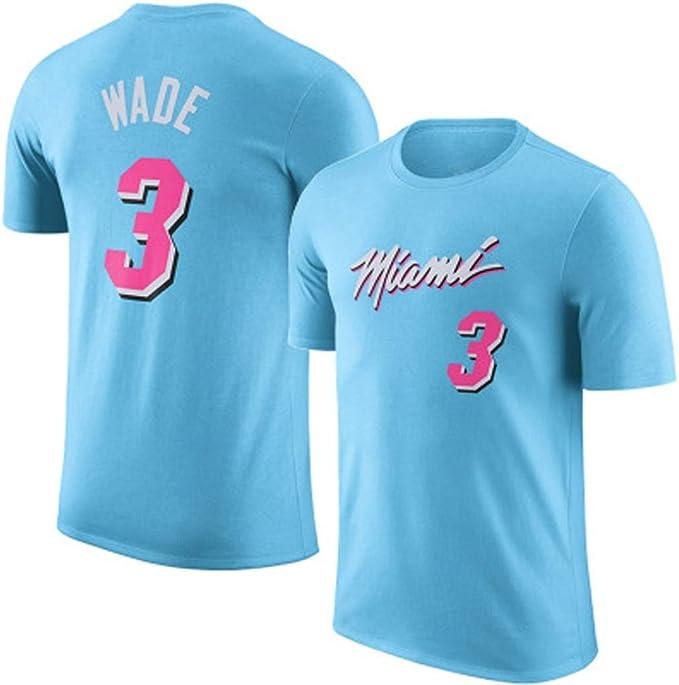 HYYSH Camiseta de Manga Corta NBA Heat New 3rd Wade White ...