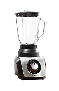 Bosch SilentMixx MMB65G0M - Batidora de vaso, 800 W, selector de velocidad variable con diferentes programas, cuchillas Easy KlickKnife, jarra termoresistente, color negro y gris