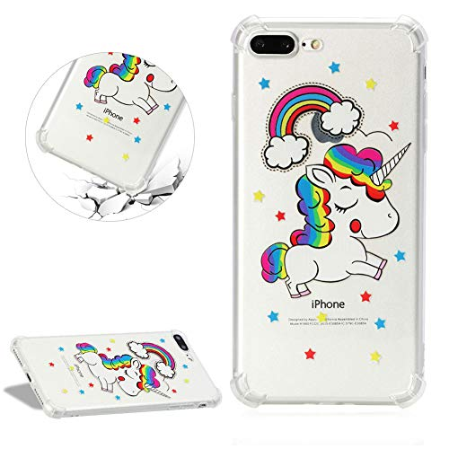 Air Cushion Reinforced Corners Clear Silicone Case for iPhone 7/8,DasKAn Cute Horse Rainbow Design Soft Rubber Back Cover Shockproof Bumper Slim Fit Flexible Gel TPU Protective Phone Case,#2 ()