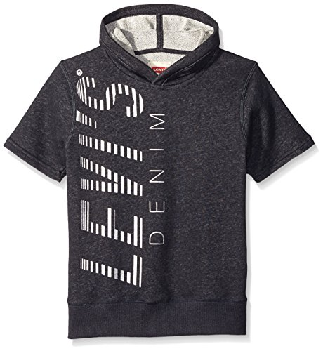 Levi's Big Boys' Short Sleeve Pullover Hoodie, Charcoal, Small