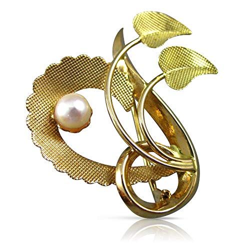 Milano Jewelers AAA South SEA Pearl 18KT Rose & Yellow Gold Leaf Heart PIN Brooch #23698