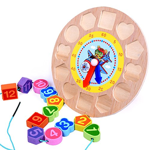 Elloapic-Wooden-Round-Childrens-Teaching-Clocks-Time-Learning-Color-Wooden-Shape-Sorting-Shape-Matching-Clock-with-String-Lacing-Beads-function-Tiger