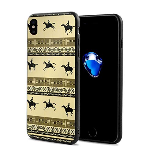 Horse Racing Clipart X Phone Case Compatible with iPhone X/Xs,Fun Crazy Cute Phone Case 2.9 X 5.8 Inch.
