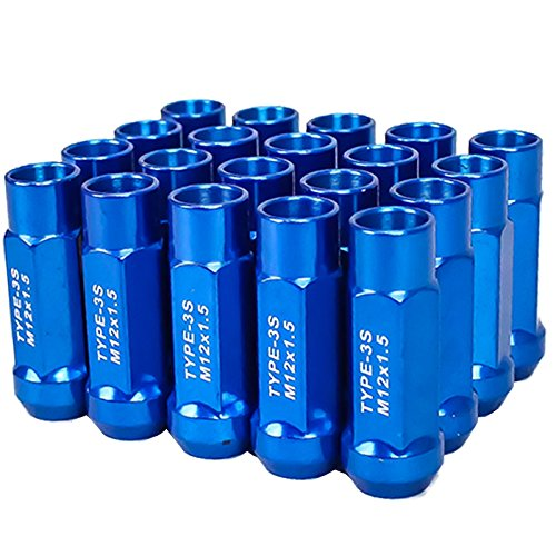 Godspeed Type 3-X Blue 12mm x 1.50 Thread Size Cold Forged SCM-435 Steel Black Finish Open End Lug Nut, (Pack of 20)