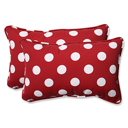 Pillow Perfect Decorative Polka Dot Toss Pillow, Rectangle, Red/White ()