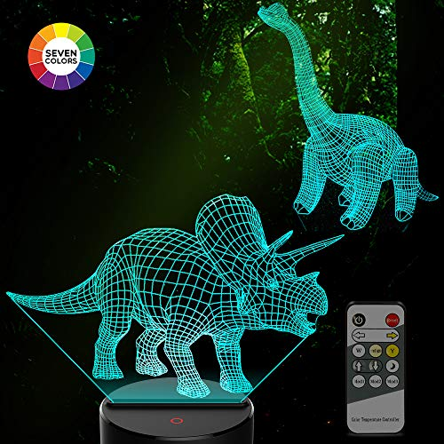 Amivoo 2 in 1 Dinosaur 3D Night Lights for Kids - 7 Colors Changing Touch Table Desk Lamp Remote Control 3D Illusion Lamp | Dinosaurs Toy Boys Girls Cool Christmas Birthday Gifts Idea Bedroom Decor