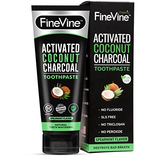 Charcoal Teeth Whitening Toothpaste - Made in USA - WHITENS TEETH NATURALLY and REMOVES BAD BREATH - Best Natural Vegan Organic Toothpaste - (Spearmint Flavor) by FineVine
