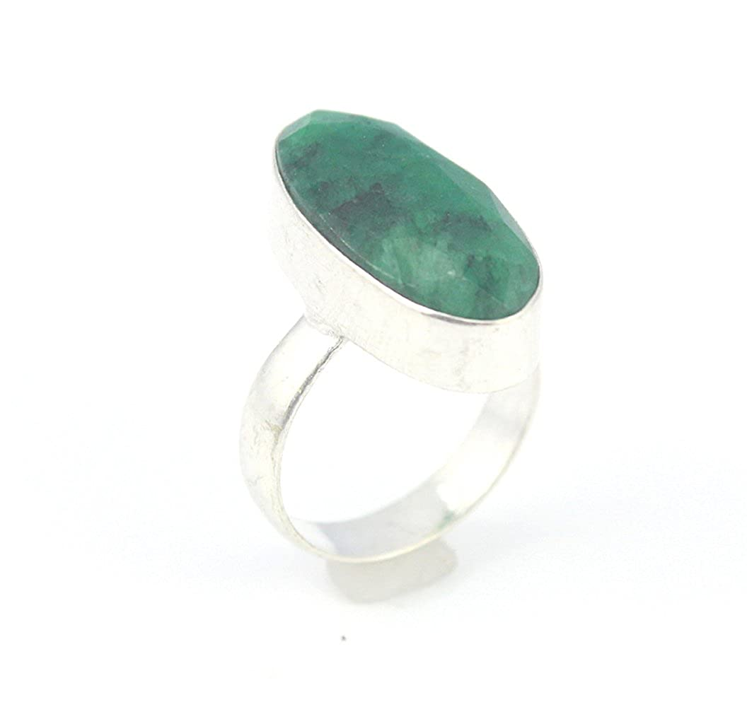 EMERALD FASHION JEWELRY .925 SILVER PLATED RING 6 S23963