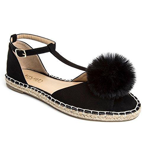 ZAFIRO Boutique Mujer Ante mullido POM POM Puntera Abierta Ligero Sandalias Planas Alpargatas Zapatos Negro